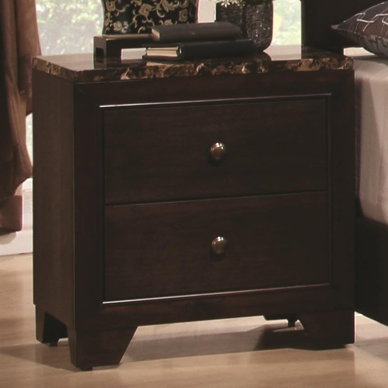 Conner 6 Piece Bedroom Set in Dark Walnut Finish with Faux Marble ...