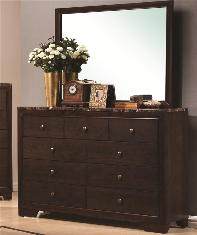 Bedroom Sets With Marble Tops conner 6 piece bedroom set in dark walnut finish with faux marble