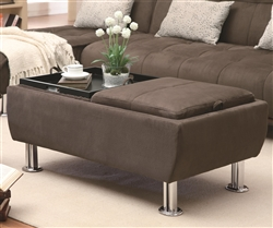 Brown Fabric Storage Ottoman by Coaster - 300278
