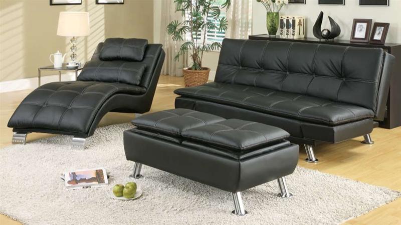 Black Leather Like Vinyl Storage Ottoman by Coaster300283