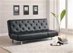 Black Durable Leather Like Vinyl Sofa Bed by Coaster - 300304