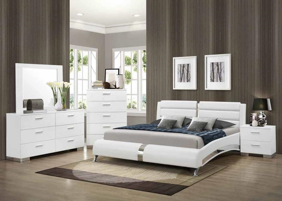felicity 6 piece bedroom set in glossy white finish by coaster 300345 - Bedroom Set For Men