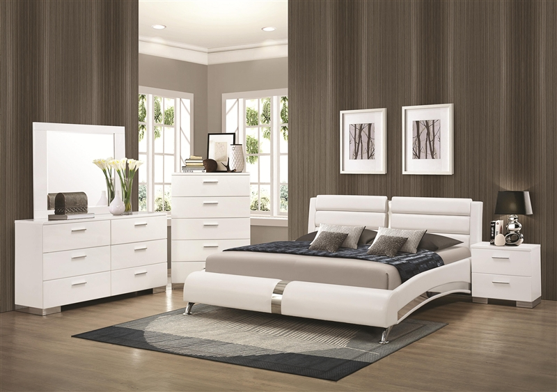 Felicity 6 Piece Bedroom Set in Glossy White Finish by Coaster - 300345