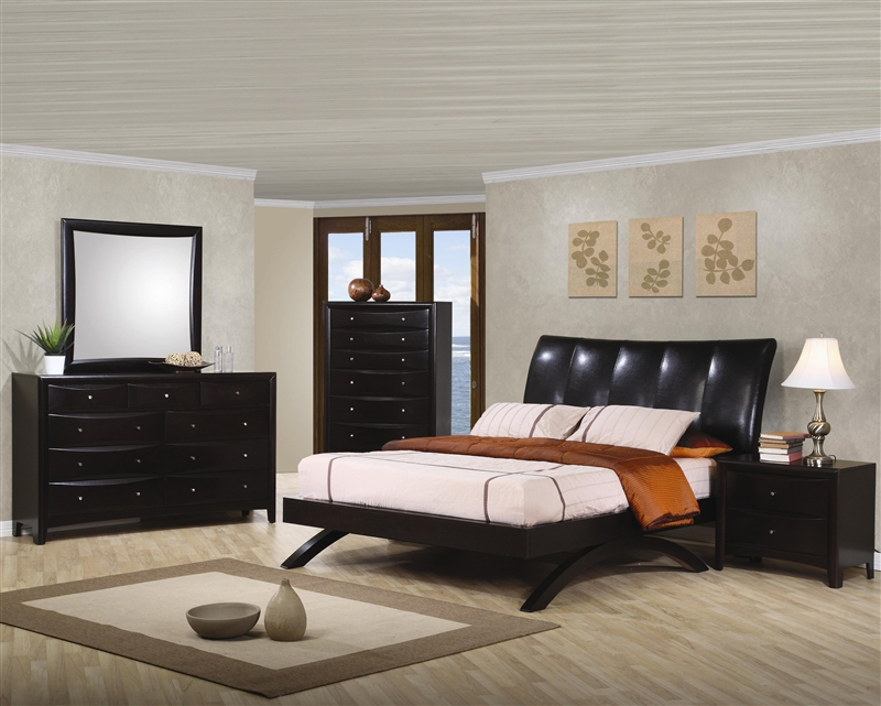 Phoenix Arc Bed 6 Piece Bedroom Set in Rich Deep Cappuccino Finish by  Coaster - 300356