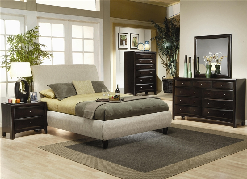 Platform Upholstered Bed 6 Piece Bedroom Set in Rich Deep ...