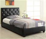 Regina Dark Brown Button Tufted Leather Like Fabric Upholstered Bed by Coaster - 300391T