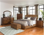 Laughton Woven Banana Leaf Bed 6 Piece Bedroom Set in Rustic Brown Finish by Coaster - 300501