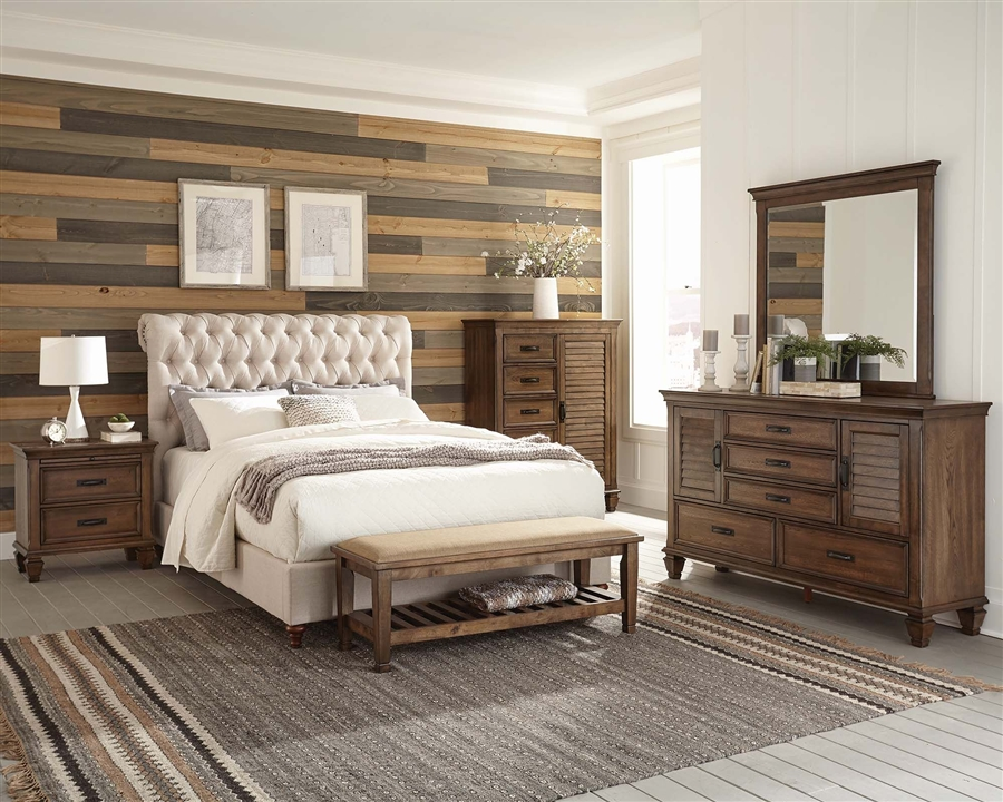 Devon 6 Piece Bedroom Set in Burnished Oak Finish by Coaster - 300525