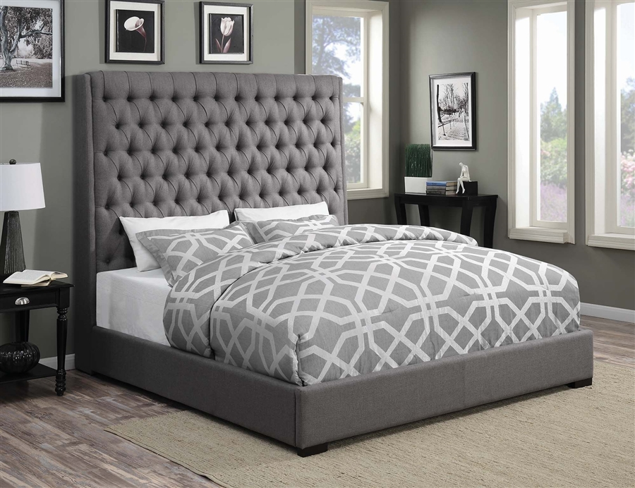 Camille Grey Fabric Upholstered Bed By Coaster 300621q
