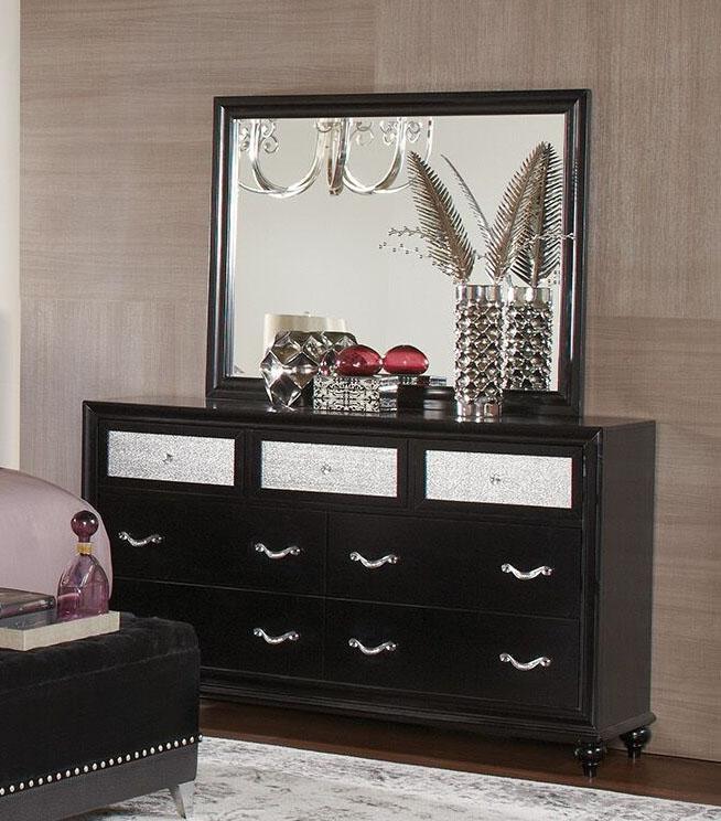 Barzini Black Velvet Upholstered Bed 6 Piece Bedroom Set
