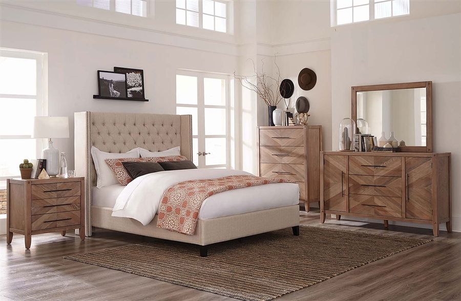 . Auburn Upholstered Bed 6 Piece Bedroom Set in White Washed Natural Finish  by Scott Living   300706