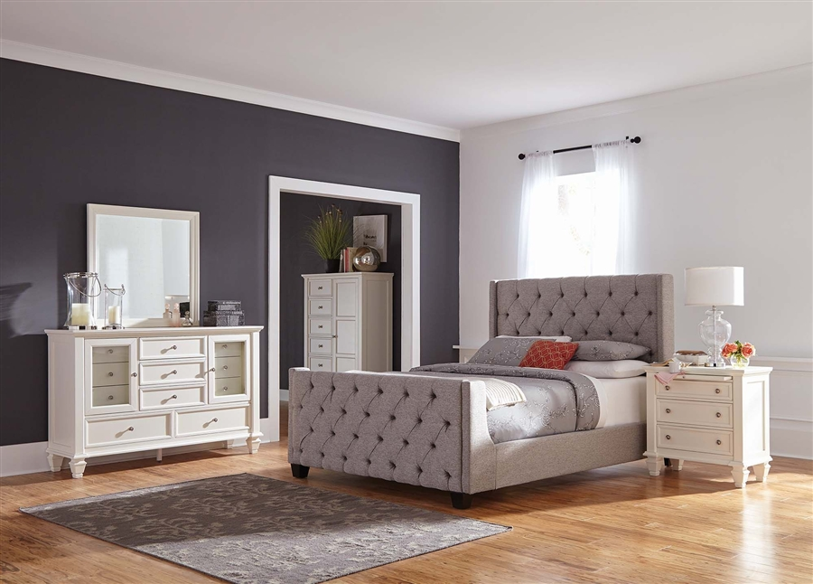 Palma Upholstered Bed 6 Piece Bedroom Set In White Finish By