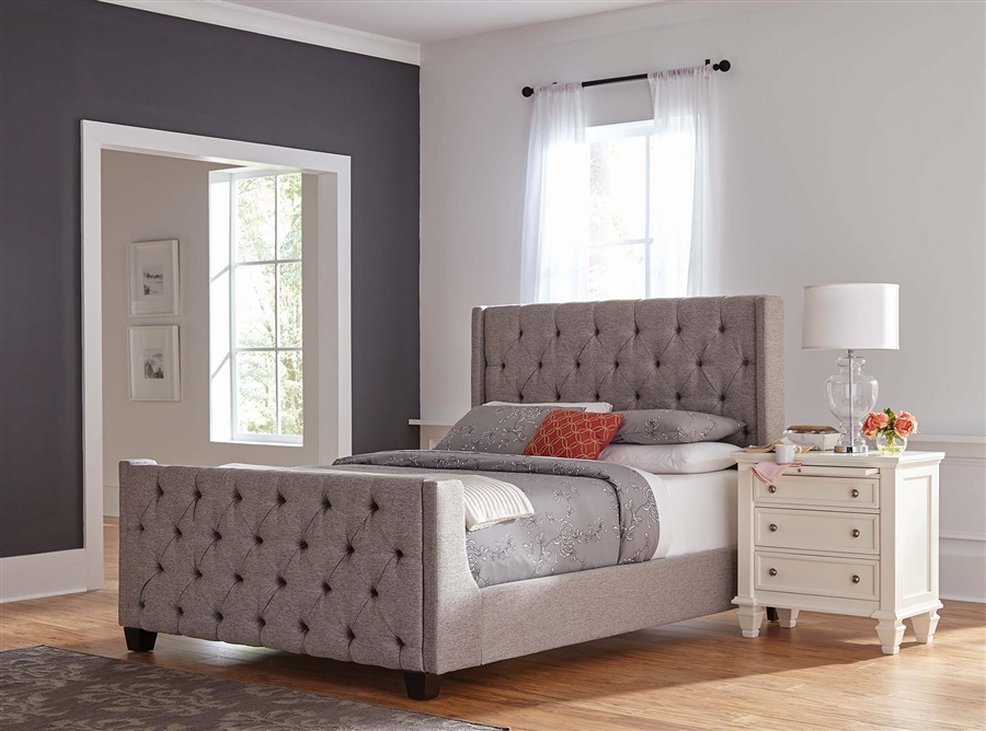 Palma Grey Fabric Upholstered Bed By Coaster 300708q