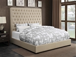 Camille Cream Fabric Upholstered Bed by Coaster - 300722Q