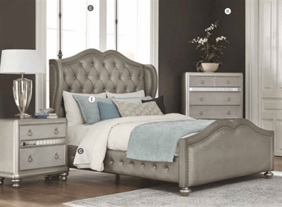 Bling Game Upholstered Bed in Metallic Platinum Finish by Coaster - 300824Q