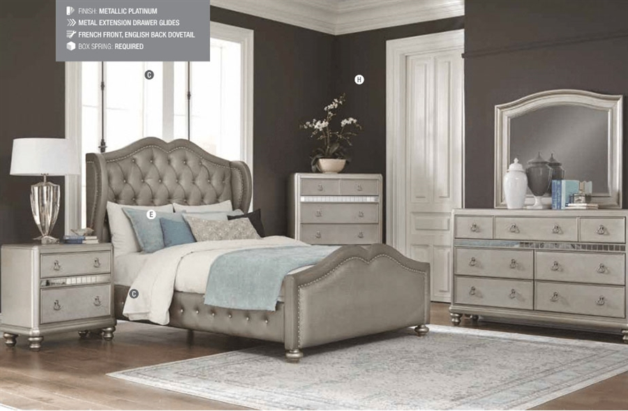 Bling Game Upholstered Bed 4 Piece Youth Bedroom Set In Metallic Platinum Finish By Coaster 300824t