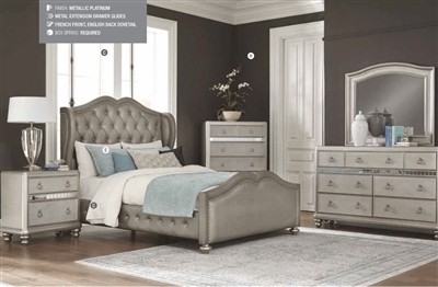 Bling Game Upholstered Bed 4 Piece Youth Bedroom Set in Metallic Platinum Finish by Coaster - 300824T