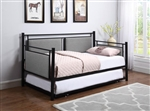 Joelle Trundle Daybed in Grey Fabric and Black Metal Finish by Coaster - 300940