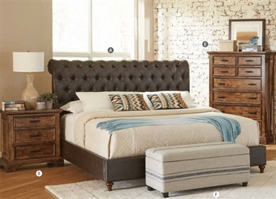 Gresham Upholstered Bed in Vintage Bourbon Finish by Coaster - 301097Q