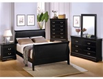 6 Piece Deep Black Louis Philippe Sleigh Bedroom Furniture Set by Coaster #201071