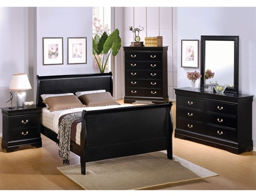 Piece Deep Black Louis Philippe Sleigh Bedroom Furniture Set by ...