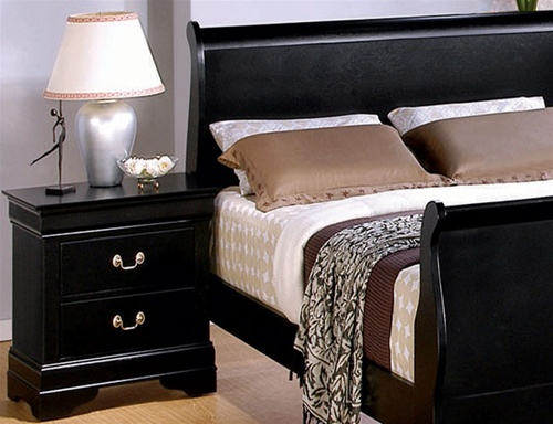 6 Piece Deep Black Louis Philippe Sleigh Bedroom Furniture Set by ...