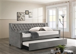Chatsboro Trundle Daybed in Grey Velvet by Coaster - 305883