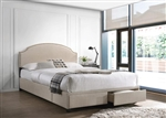 Niland Platform Storage Upholstered Bed in Beige Fabric by Coaster - 305896Q