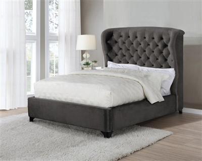 Graydon Chocolate Fabric Upholstered Bed by Coaster - 306007Q