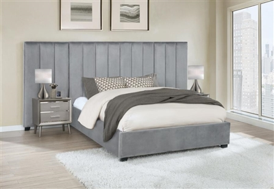 Arles Grey Velvet Upholstered Bed by Coaster - 306070