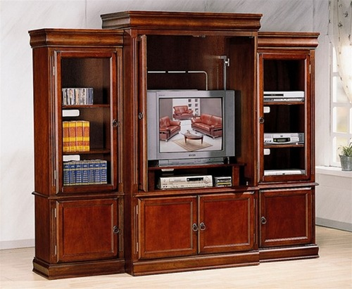 Louis Philippe Dark Oak Finish 3 Piece Entertainment Center With Open Piers By Coaster 3400