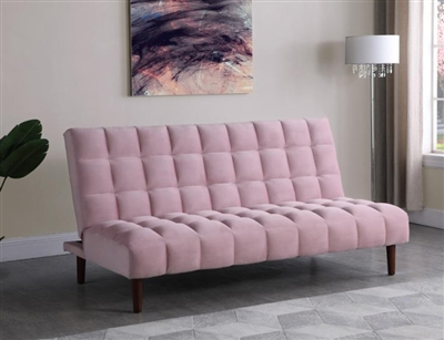 Cullen Futon Sofa Bed in Pink Velvet Upholstery by Coaster - 360236