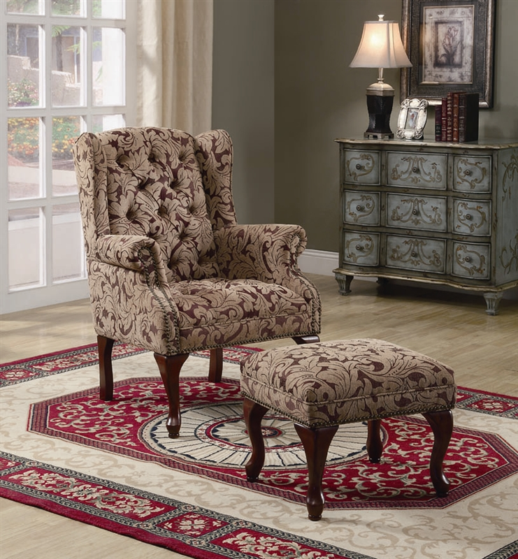 Floral Pattern Fabric Accent Chair and Ottoman by Coaster - 3932B