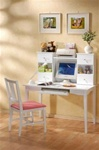 Princess Youth Collection 3 Piece Writing Desk Set in White Finish by Coaster - 400047