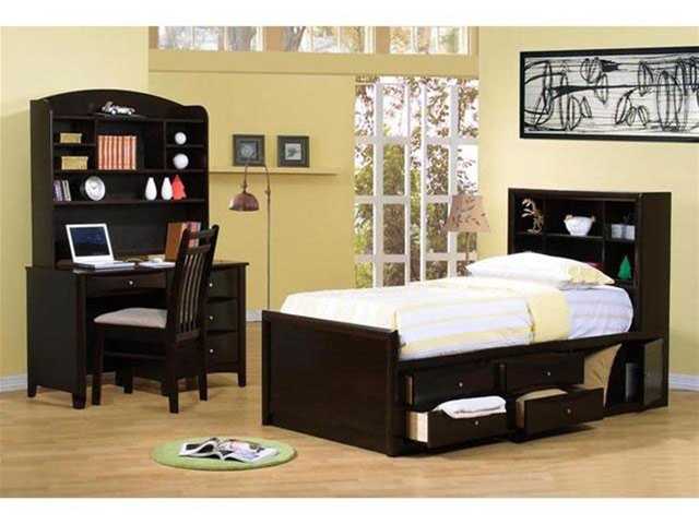 4 Piece Phoenix Collection Bedroom Furniture Set with Chest Bed in Rich  Deep Cappuccino Finish by Coaster - 400180