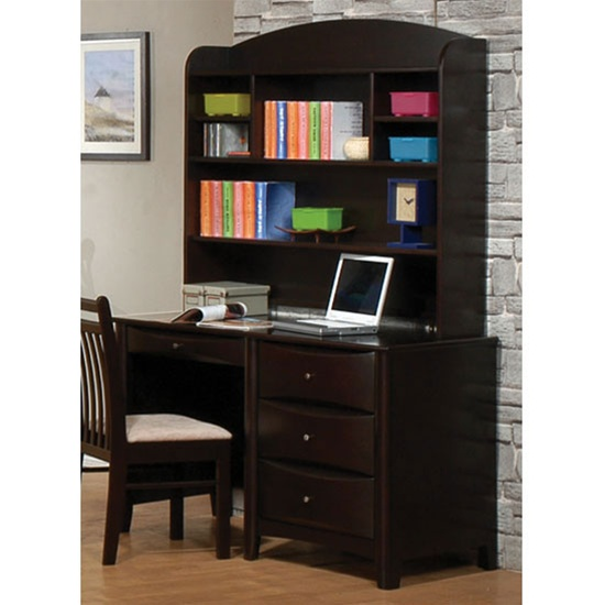 phoenix collection bedroom furniture computer student desk with hutch in rich deep cappuccino. Black Bedroom Furniture Sets. Home Design Ideas