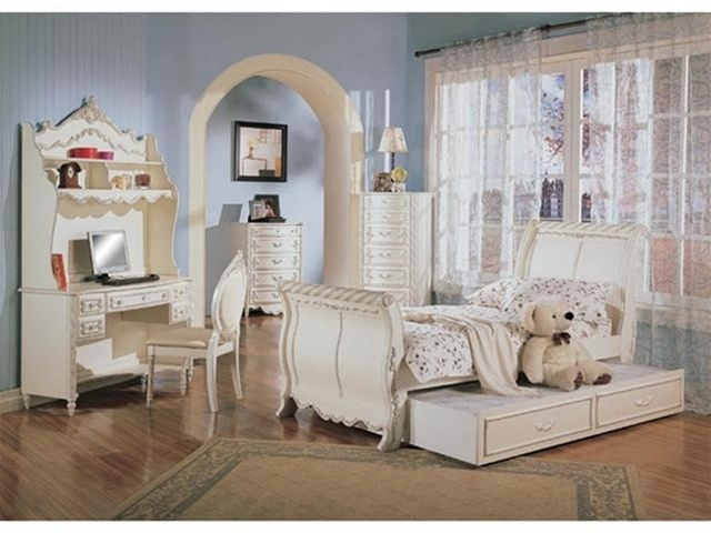 4 PIECE Alexandria Sleigh Bed Bedroom Furniture Set in White Pearl Finish  with Gold Accents by Coaster - 400201