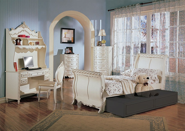 4 Piece Alexandria Sleigh Bed Bedroom Furniture Set In White Pearl Finish With Gold Accents By Coaster 400201