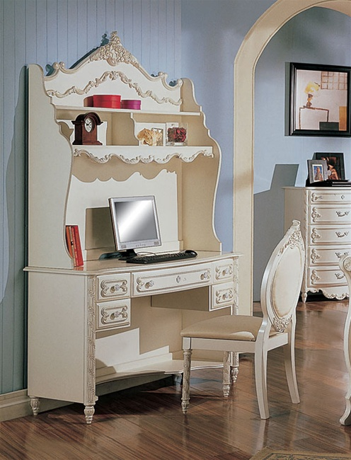 Alexandria Collection Bedroom Furniture Student Desk with Hutch in White  Pearl Finish with Gold Accents by Coaster - 400207