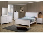 Sandy Beach Youth 4 Piece Sleigh Bedroom Furniture Set in White Finish by Coaster - 400231