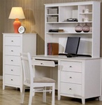 Sandy Beach Youth Computer Desk with Hutch White Finish by Coaster - 400237