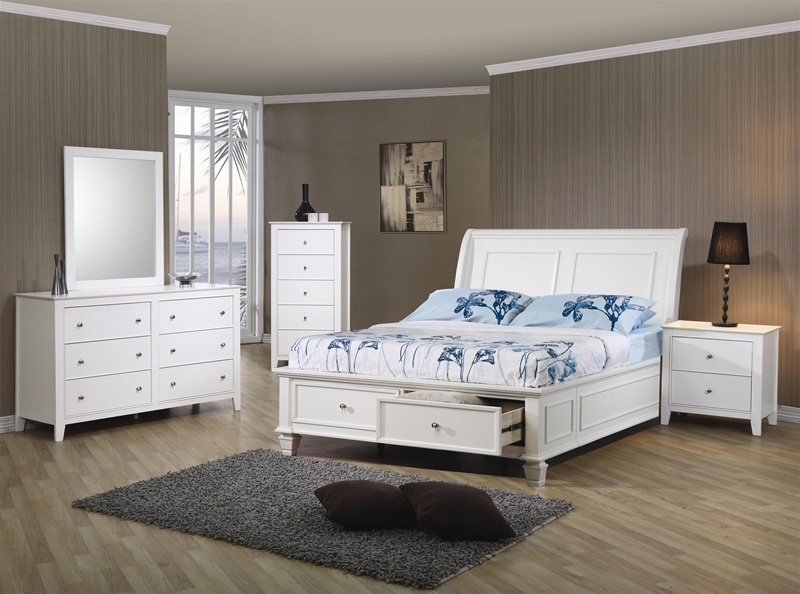 Beach 4 Piece Storage Bed Bedroom Set in White Finish by Coaster ...