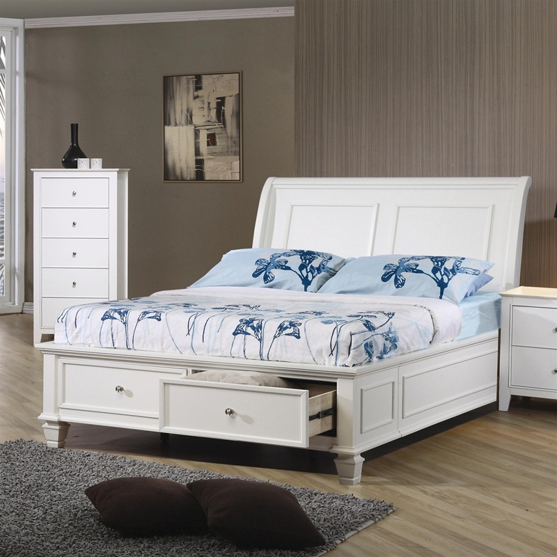 Awesome Sandy Beach Bedroom Set White Part - 8: Sandy Beach 4 Piece Storage Bed Bedroom Set In White Finish By Coaster -  400239