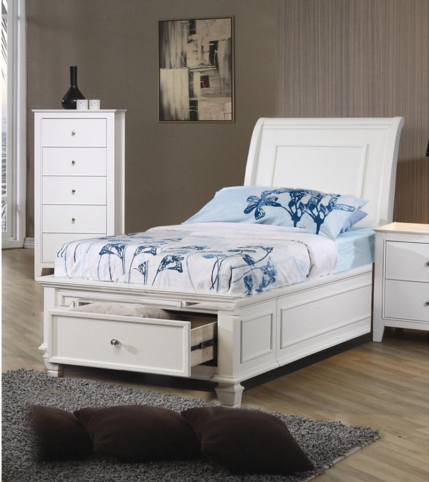 Sandy Beach Bedroom Set White Part - 37: Sandy Beach 4 Piece Storage Bed Bedroom Set In White Finish By Coaster -  400239