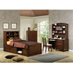 Scottsdale 4 Piece Youth Bedroom Set in Deep Walnut Finish by Coaster - 400280