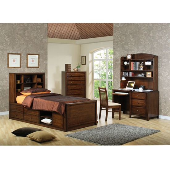 Delightful Scottsdale 4 Piece Youth Bedroom Set In Deep Walnut Finish By Coaster    400280
