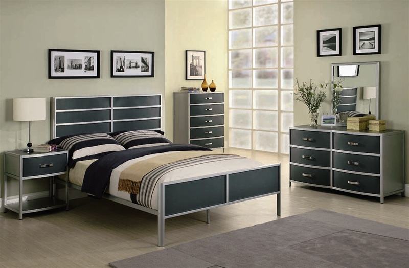 Dewey 4 Piece Youth Metal Bedroom Set in Two Tone Finish by Coaster ...