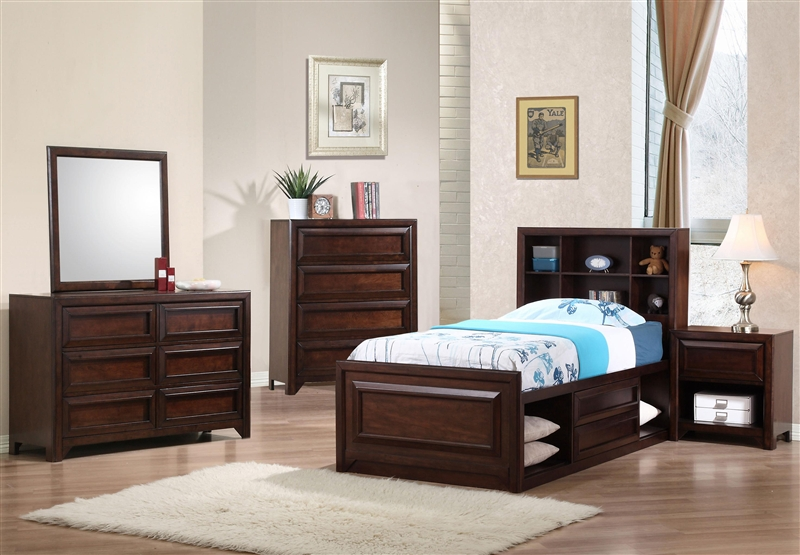 Jerico Captain\'s Bed 4 Piece Youth Bedroom Set in Maple Oak Finish by  Coaster - 400511