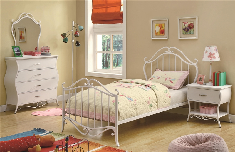 Bella 4 Piece Youth Bedroom Set In White Finish By Coaster 400521,Modern Bathroom Wall Art Ideas