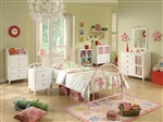 Juliette 4 Piece Youth Bedroom Set in Pink and White Metal Finish by Coaster - 400571